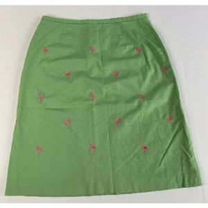 Brooks Brothers Green Pink Women's A-Line Skirt